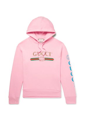Gucci - Appliquéd Logo-Print Loopback Cotton-Jersey Hoodie - Men - Pink