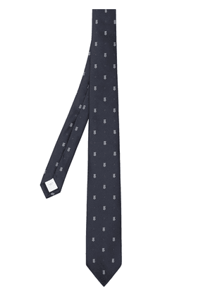 Burberry monogram and star-embroidered tie - Blue