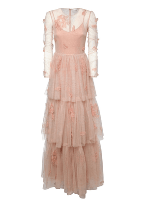 Embroidered Tulle Long Dress