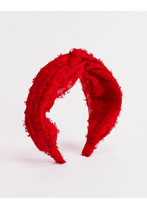 Topshop headband with twisted knot detail in red