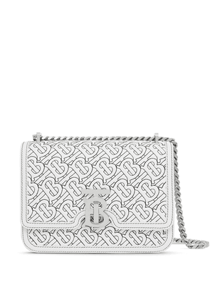 Burberry small quilted TB shoulder bag - White