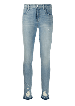 J Brand distressed high-rise skinny jeans - Blue