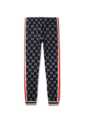 Gucci - Tapered Striped Logo-Intarsia Cotton Track Pants - Men - Blue