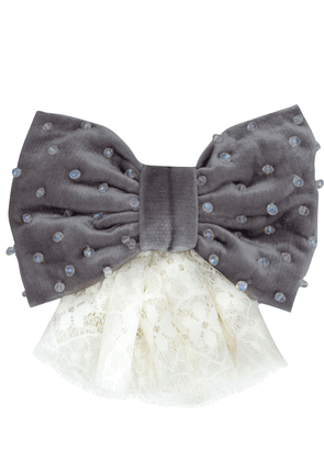 Velvet Effect Bow W/ Lace & Crystals