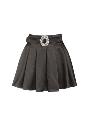 Pleated Wool Blend Satin Mini Skirt