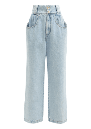 High Waist Cotton Denim Wide Leg Jeans