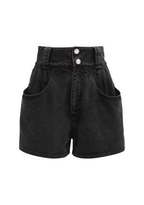 High Waist Cotton Denim Shorts