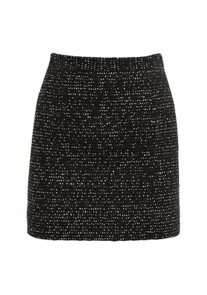 High Waist Sequin Tweed Mini Skirt