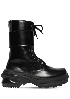 50mm Brushed Leather Combat Boots