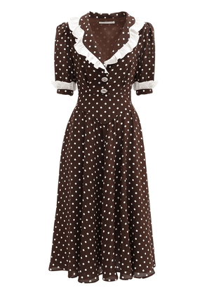 Polka Dots Ruffled Silk Midi Dress