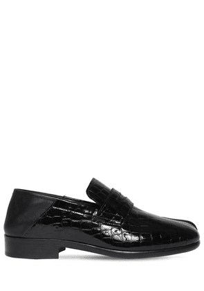 30mm Croc Embossed Leather Tabi Loafers