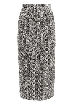 High Waist Sequin Tweed Midi Skirt