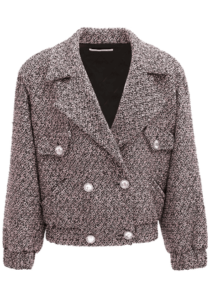 Sequin Wool Blend Tweed Bomber Jacket