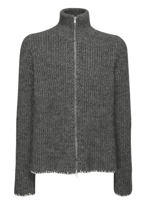 Wool Blend Turtleneck Zip Sweater