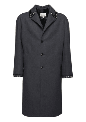 Studded Single Breast Wool Coat