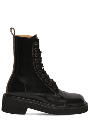 40mm Brushed Leather Lace-up Boots