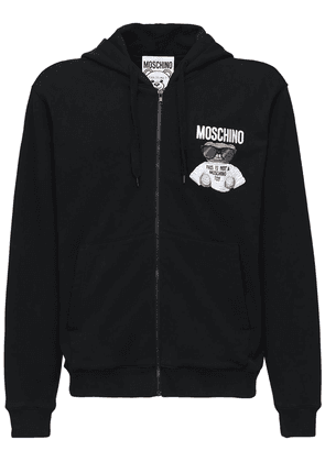 Logo Teddy Embroidery Cotton Zip Hoodie