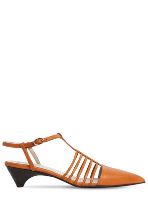 10mm Mid Heel Faux Leather Sandals