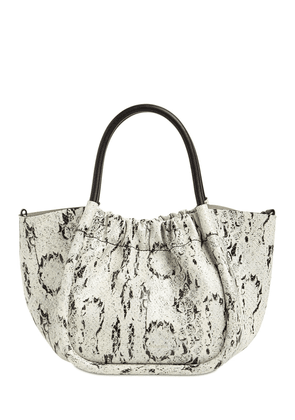 Small Snake Printed Leather Tote