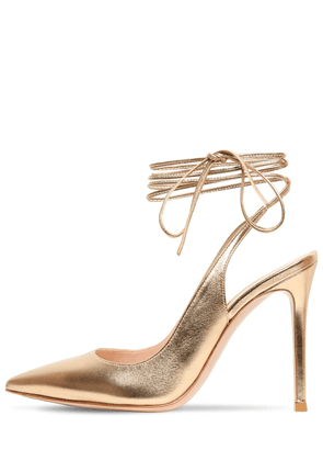 105mm Metallic Leather Lace-up Pumps