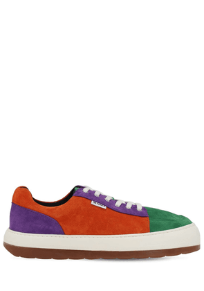 Color Block Suede Lace-up Sneakers