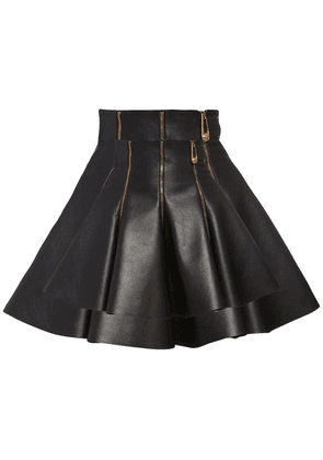 Flared Leather Skirt W/zips