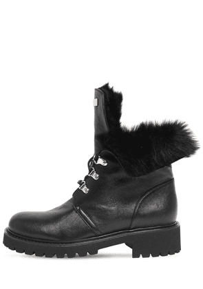 30mm Leather & Faux Fur Ankle Boots