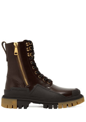 40mm Brushed Leather Combat Boots