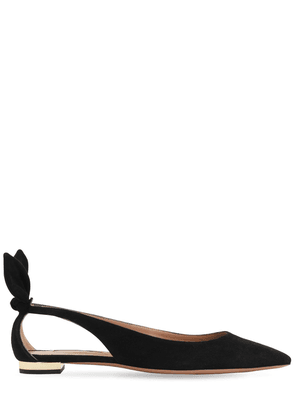 10mm Bow Tie Suede Flats