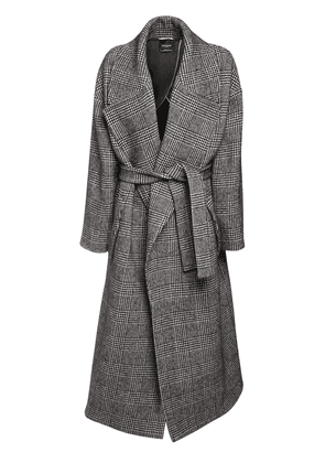 Prince Of Wales Wool Blend Maxi Coat