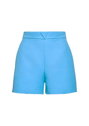 V Logo Wool & Silk Couture Shorts