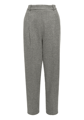 Houndstooth Wool Blend Straight Pants
