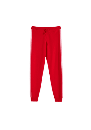 Chinti & Parker Red Ripple Wool-cashmere Track Pants