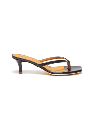 Leather thong heeled sandals