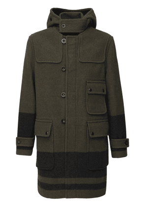 Border Hooded Virgin Wool Duffle Coat
