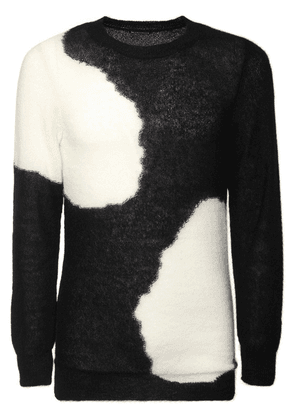 Two Tone Mohair Blend Knit Sweater