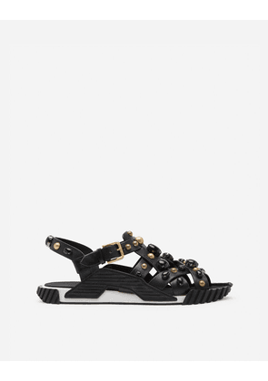 Dolce & Gabbana Sandals and Slides - NS1 SANDALS IN COWHIDE WITH STONE EMBROIDERY MULTICOLORED