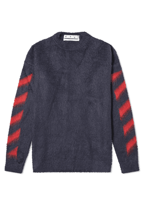 Off-White Diagonal Brushed Mohair Knit