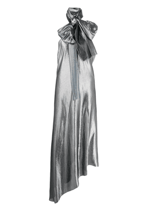 Roland Mouret pussy bow evening gown - SILVER