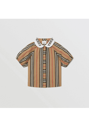 Burberry Childrens Logo Print Puff-sleeve Icon Stripe Cotton Blouse