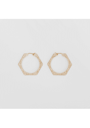 Burberry Crystal Detail Gold-plated Nut Hoop Earrings, Yellow