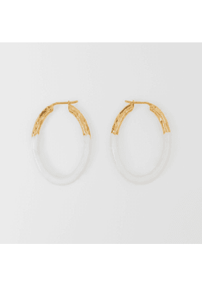 Burberry Enamel and Gold-plated Hoop Earrings, Yellow
