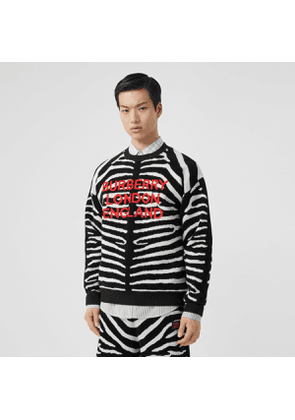 Burberry Zebra and Logo Wool Blend Jacquard Sweater, Black