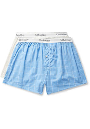 Calvin Klein Underwear - Two-Pack Checked Cotton-Poplin Boxer Briefs - Men - Blue