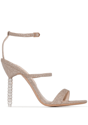 Sophia Webster champagne glitter rosalind 100 leather sandals -