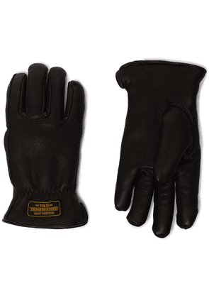 Neighborhood lined logo print gloves - Black
