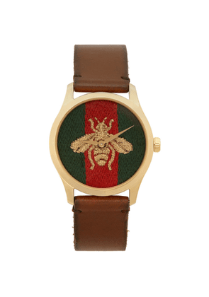 Gucci Gold and Brown Medium G-Timeless Bee Watch