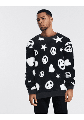 Love Moschino stars & hearts fleece jumper-Black
