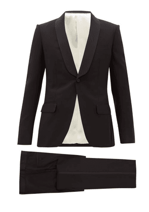 Gucci - Grosgrain-trim Wool-blend Twill Tuxedo Suit - Mens - Black