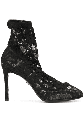Dolce & Gabbana stretch lace boots - Black